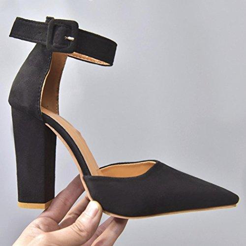 Black Veloursleders Ferse Schuhe Frauen der Einzelne Damen rau des Block High HKFV Grober Schnalle Knöchel hohen Absatzes des Party Schuhe Heels qRwtWz5f