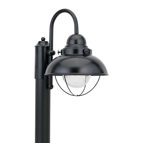 Black Finish Post Lantern (Sea Gull Lighting 826991S-12 Sebring LED Outdoor Post Lantern with Glass Diffuser, Black Finish)
