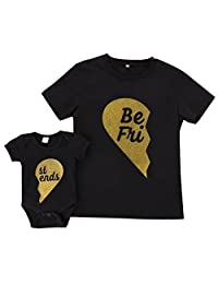 Mom & Baby Parent-Child Best Friend Printed Shirt Romper Family Clothes Outfits