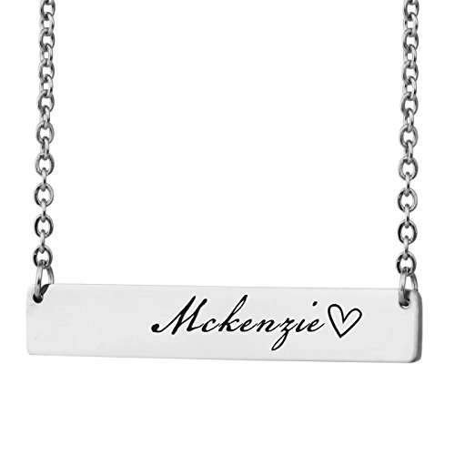 HUAN XUN Personalized Bar Custom Name Necklace Mckenzie Personal Womens Jewelry Birthday Gift - Mckenzie Metal