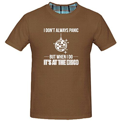 Chimpanzee Men's I Don'T Always Panic But When I Do It'S At The Disco T-shirt (Chocolate Medium)