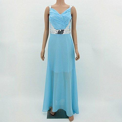 Formal Vestido Rosa S Yingsssq Ceremonia Noche Matrimonio Cóctel Mujer De Para Lentejuelas Chifón Elegante Cuello Cielo Largo Blu V 7d1fZqFda