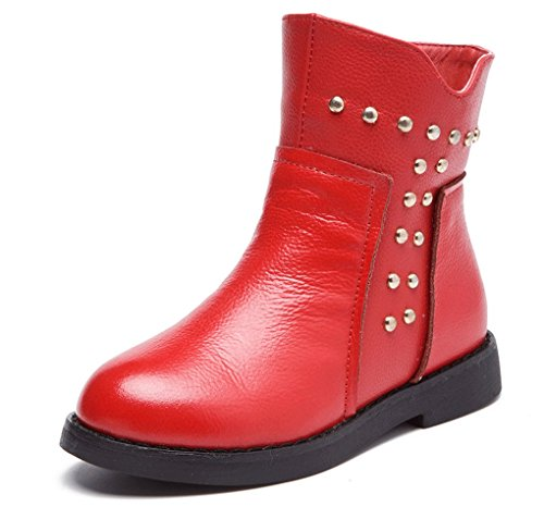 Pointss Waterproof Boot Girls Fashion Red Boot Short Winter Boot Fall Thickened Snow Warm Boots Velvet Rivets Trip PrdnPgq