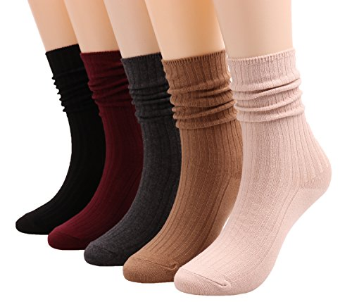 Galsang 5 Pairs Womens Lightweight Cotton Casual Crew Knit Socks Solid Color,Size 5-10 A504 (pure color)