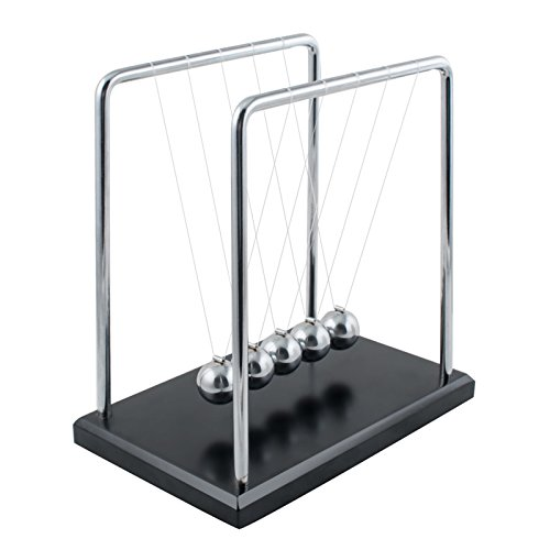 Carejoy Newton's Cradle, Newton's Cradle Balance Balls with Metal Balance Ball and Black Wooden Base accompany Your Child's Grown-up from Carejoy