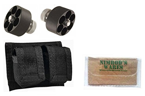Nimrod's Wares Two HKS Speedloaders .38.357 S&W Dan Wesson Charter Taurus + Pouch Microfiber Cloth (Pouch Double Hks)