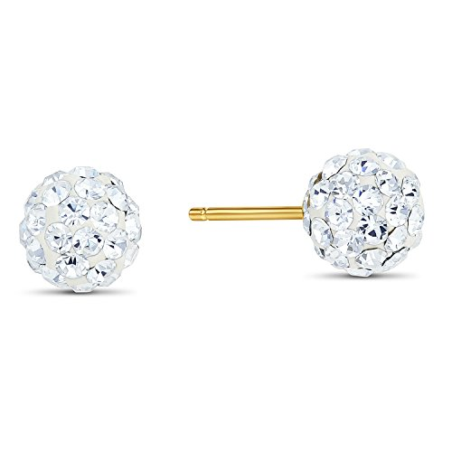 14k Yellow Gold Round Crystal Ball Stud Earrings with Silicone Covered Gold Pushbacks (6mm)