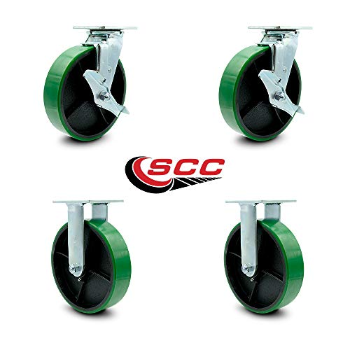 Service Caster - 8'' x 2'' Polyurethane Wheel Caster Set - Green on Black - 2 Swivel w/Brakes/2 Rigid - Non Marking - 5,000 Lbs Total Capacity - Set of 4 by Service Caster (Image #5)