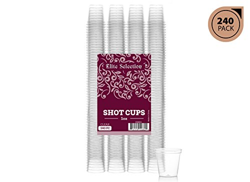 Glass Plastic Shot Glass (Elite Selection Pack Of 240 Party 1 Oz. Shot Glasses Disposable Plastic Cups)