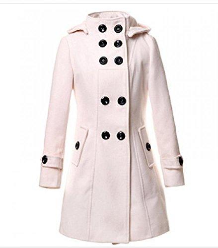 Krralinlin Women Winter Hooded Double Breasted Long Trenc...