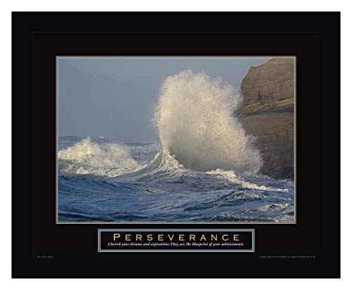 "Perseverance - Crashing Wave by Frontline - 22"" x 27"" Black Framed Giclee Canvas Art Print - Ready to Hang"