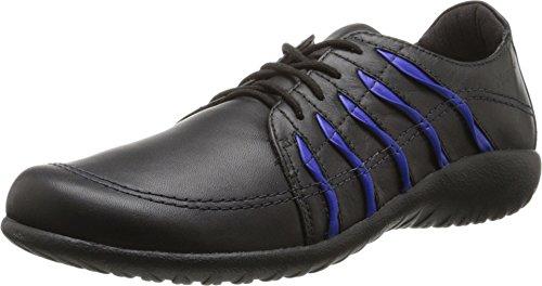 Naot Footwear Women's Tanguru Black Leather/Royal Blue Sneaker 35 (US Women's 4) M