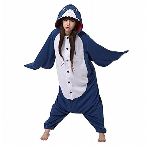 ABING Halloween Pajamas Homewear OnePiece Onesie Cosplay Costumes Kigurumi Animal Outfit Loungewear,Shark Adult M -for Height (Cozy Shark Dress Adult Womens Costumes)