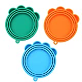 SLSON 3 Pack Pet Food Can Cover Universal Silicone