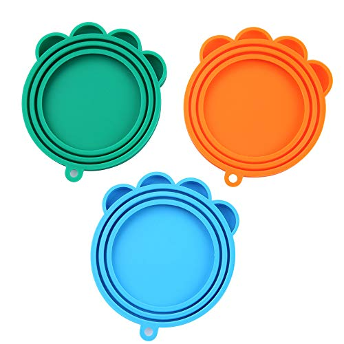 SLSON 3 Pack Pet Food Can Cover Universal Silicone Cat Dog Food Can Lids 1 Fit 3 Standard Size BPA Free Can Covers,Blue,Green and Orange