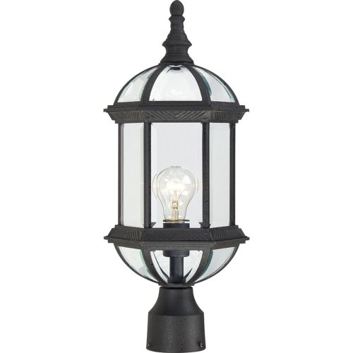 (Nuvo Lighting 60/4976 Boxwood One Light Post Lantern 100 Watt A19 Max. Clear Beveled Glass Textured Black Outdoor Fixture)