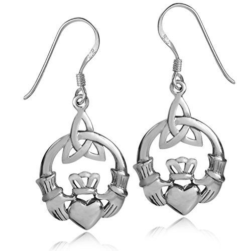 925 Sterling Silver Triquetra Celtic Knot Claddagh Dangle - Claddagh Earrings Sterling Silver