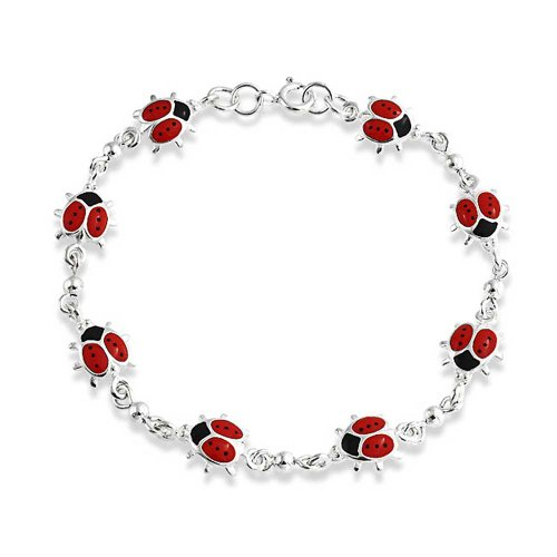 Red Lucky Ladybugs Small Enamel Station Charm Bracelet For Women For Teen 925 Sterling Silver