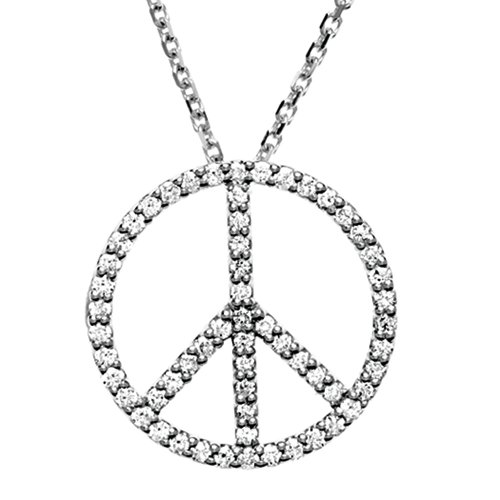 1/3 Carat Diamond Peace Sign Necklace in 14k White Gold