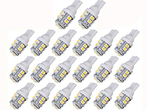 921 Led Light - JKLcom T10 LED Bulbs 20 Pack,W5W 194 921 168 2825 T10 Wedge 3528 10 SMD LED Light bulbs T10 12V Light for Car Map Dome Trunk Dashboard Parking Lights