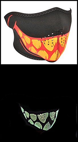 Zan Headgear Glow in the Dark Teeth Neoprene Half Face Mask