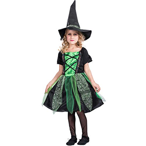 EraSpooky Girl's Witch Costume Kids Halloween Green Witch Costume Fairy Dress for Girls - Funny Cosplay Party]()