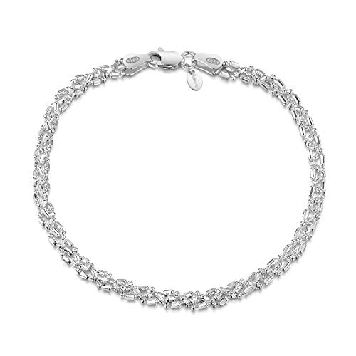 (Amberta 925 Sterling Silver 3.5 mm Ball Bead and Bar Chain Bracelet Length 7.5
