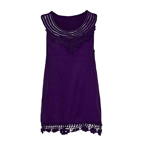 iYBUIA Women O-Neck Sleeveless Pure Color Lace Plus Size Vest Loose T-Shirt Blouse with Hollow Hem Purple by iYBUIA (Image #2)