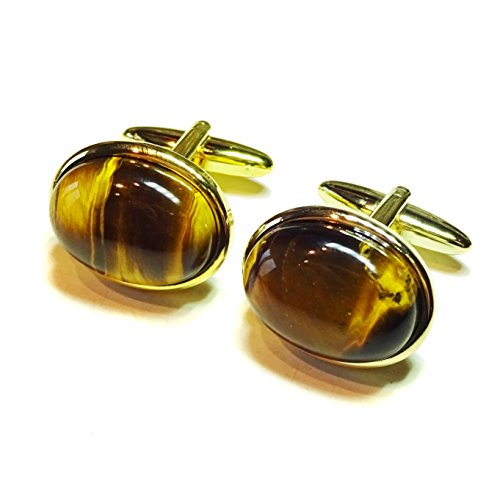 Brown Tiger's Eye Gold Plated Semi-precious Gemstone (Gemstone Gold Cufflinks)