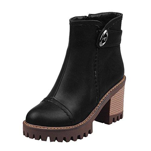 Mee Shoes Damen chunky heels runde Plateau kurzschaft Stiefel Schwarz