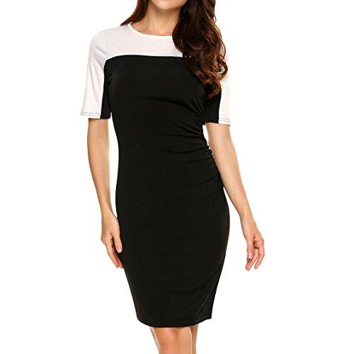 ANGVNS Womens Elegant Chaps Colorblock Wear To Work Pleated Sheath Stripe Pencil (Ladies Black Chaps)