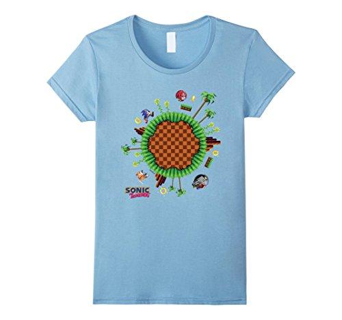 Sega Women's Sonic World T-Shirt Medium Baby Blue