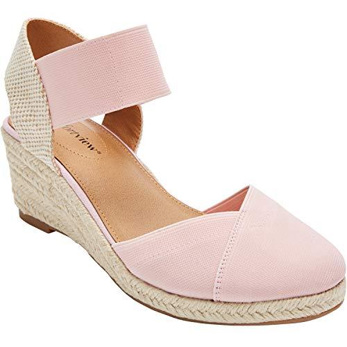 Comfortview Women's Plus Size Abra Espadrille - Silver Pink, 11 WW