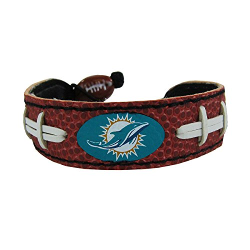(GameWear NFL Miami Dolphins Classic Football Bracelet, One Size, Black )