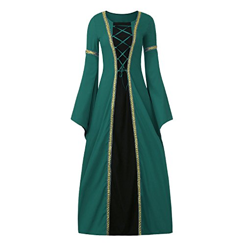 Women's Medieval Dress Halloween Cosplay Costume Lace Up Vintage Floor Length Retro Long Dress (XXXL, B-green+black) - Lace Up Halloween Costumes Dress