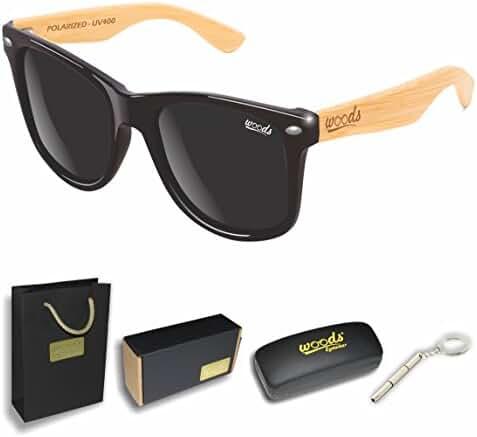 Handmade Genuine Wood Bamboo Polarized Sunglasses / Men / Women (Carrying Metal Case / Full Accessories / Flexible Temples / UV400 / UVB)