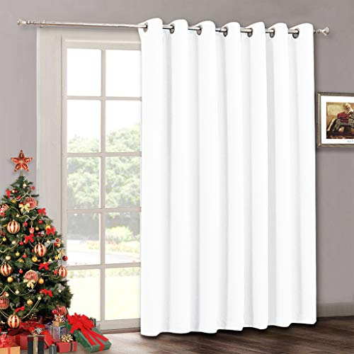 RYB HOME Room Drekening Curtain Panel for Patio Door, Privacy Protect Shades Curtain for Personal Space/Office, Thermal Insulated Drapes for Bedroom, Wide 100 x Long 84 inch, Pure White