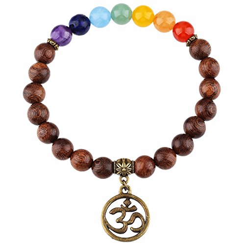 SUNYIK 7 Chakra Gold Silk Sandalwood Bracelet with Root Chakra -