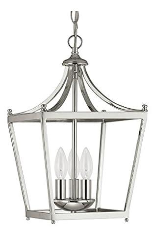 Three Light Polished Nickel Foyer Hall Pendant - Nickel Lantern Pendant
