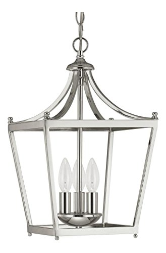 Three Light Polished Nickel Foyer Hall Pendant