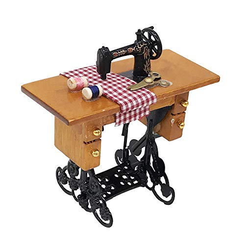 Karooch 1:12 Dollhouse Miniature Wooden Furniture Mini Sewing Machine Model with Needle Thread for Boys Girls Children's Day Gift