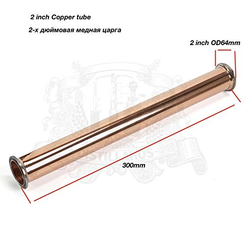 Maslin Copper Tri-Clamp Pipe, Spool 2''(51mm) OD64, Length 300 mm(12'') with Stainless Steel Ferrule/