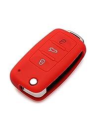 Funda protectora de silicona AndyGo cubierta del teclado de entrada sin llave para mando a distancia de cáscara para VW Volkswagen 3 botones