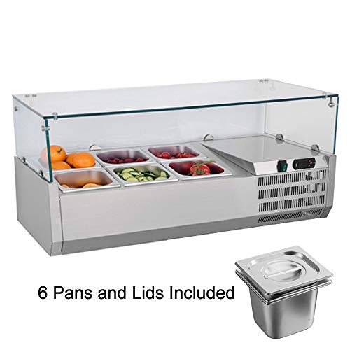 SHANGPEIXUAN Display Refrigerators 35.5 Inch Commercial Countertop Refrigerator Refrigerated Prep Station with Glass Fruit Salad Sandwich and Pizza Prep Table with 6 Pans and Lids