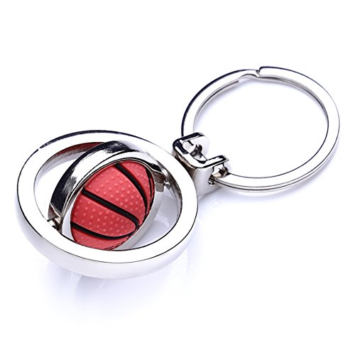 Dolland Cute Basketball Key Chain Rubber Metal Rotating Basketballs Keychain Unisex Keyring - Basketball Message Ring