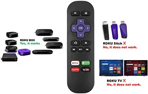 Replacement Remote for Roku 1, Roku 2, Roku 3, Roku 4 (HD, LT, XS, XD), Roku Express, Roku Premiere, Roku Ultra with Netflix Spotify YouTube Google Play Keys; DO NOT Support Roku Stick or Roku TV