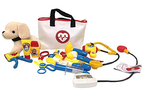 Pet Care Play Set - Vet kit and grooming kit with tote - 19pcs