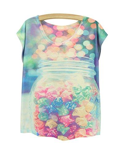 corta Camiseta y de para Top camiseta manga Acvip con cuello Star redondo mujer Summer Chaleco 88U0wr