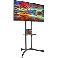 "VIVO Black TV Cart for LCD LED Plasma Flat Panel Stand w/Wheels Mobile fits 32"" to 65"" (STAND-TV03E)"
