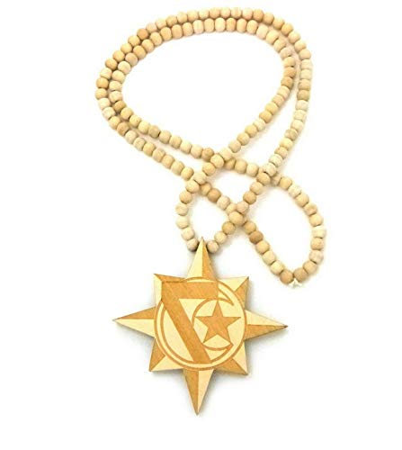 Werrox New 7-Star Wood Pendant 8mm/36 Wooden Bead Chain Hip HOP Necklace XJ234 | Model NCKLCS - 6025 |